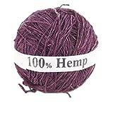 Darn Good Yarn Single Ply Sport Weight Hemp Yarn from Nepal - Natural Organic Handmade Vegan Yarn - Plum Color, 100g Ball, 150 Yards