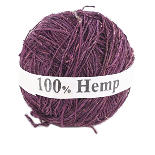 Darn Good Yarn Single Ply Sport Weight Hemp Yarn from Nepal – Natural Organic Handmade Vegan Yarn – Plum Color, 100g Ball, 150 Yards