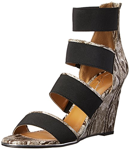 Report Signature Frauen Grays Offener Zeh Knoechel Riemen Pumps mit Keilabsatz Natural Snake