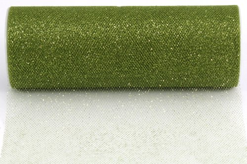 - Kel-Toy Glitter Tulle Fabric, 6-Inch by 25-Yard, Olive Green