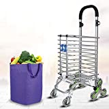 FKYTH Shopping Cart Trolley for Climbing Stairs,8 Wheel Aluminum Alloy Shopper