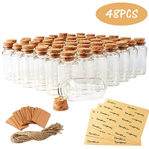 OurWarm 48pcs 25ml Cork Stopper Glass Bottles, Mini Clear Glass Jars with Label Tags Strings Stickers, Small Glass Bottles for DIY Art Crafts Projects Party Decoration Wedding Favors