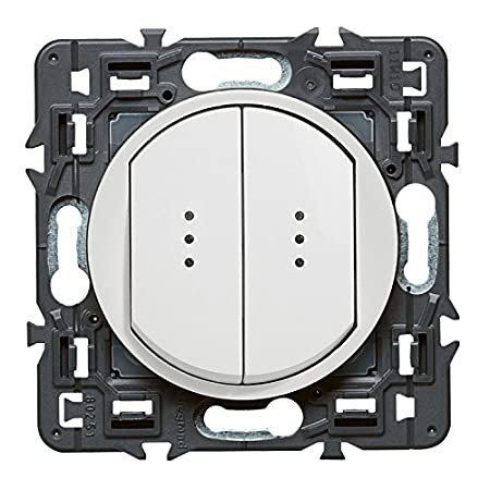 250 V Legrand 099504 C/éliane Interrupteur double lumineux Blanc