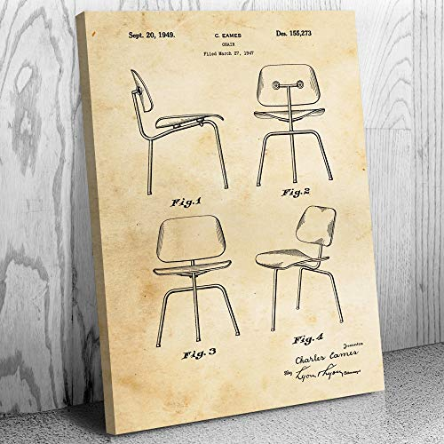 - Eames Chair Canvas Print, Designer Gift, Vintage Chair, Home Design, Interior Decorator, Classroom Furniture Vintage Paper (16