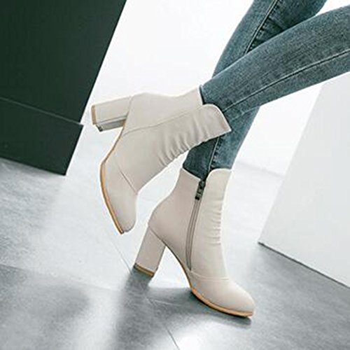 Easemax Womens Trendy Pleated Pointed Toe Mid Chunky Heel Side Zipper Ankle Boots Beige r2iCwc