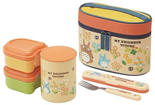Totoro Flower Design Thermal Lunch Box Set (3 Food Containers, Fork & Bag)