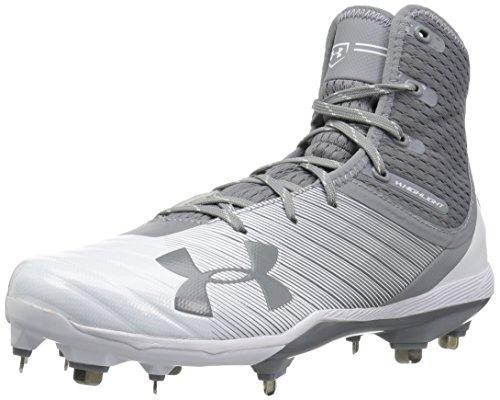 Under Armour Men's Highlight Yard DiamondTips Shoe, Baseball Gray (101)/White, 8