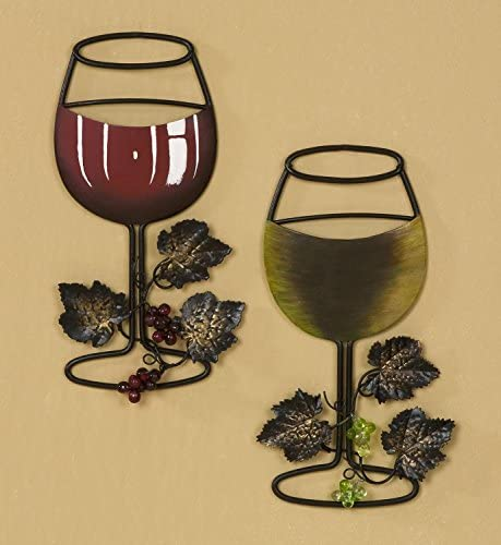 Tripar Wall Metal Wine Art – Red Wine White Wine Glass Set of 2 – Home Bar Wine Decor – Great Gift for Wine Lover
