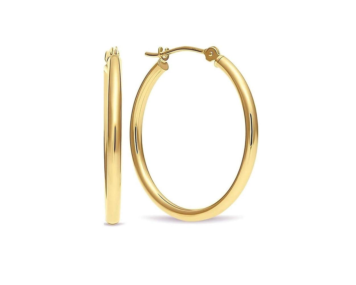 14k Genuine Yellow Gold 1.5 INCH Round Hoop Earrings (40MM) by Parade of Jewels