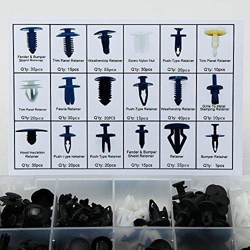 Rupse 415 x Clips Agrafe Rivets en Plastique Fixation de Protection Noir Lot de 18 Types Universel pour Auto Voitures - avec Boîtier de Rangement
