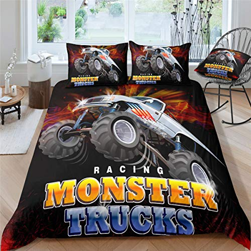 Helehome Monster Truck Duvet Cover Set Queen Size, Boys Hobby Sports Bedding Set Exotic Automobile Style Image Decorative 3 Piece Bedding Set with 2 Pillow Shams