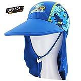 Kids Summer Sun Hat, UPF 50+ Sun Protection Legionnaire Drawstring Cap Girls Boys