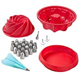 Silicone Non-Stick Baking Pan, Baking Mold Set; Large Spiral Cake Pan, 6 Cup Bundt Pan, 9-Inch Round Cake Pan, 36pc Professional Cake Decorating Supplies with Reusable Bag and Stainless Icing Tip Set
