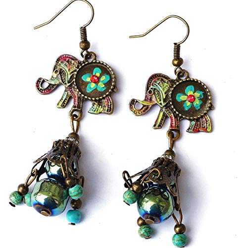 - Boho Elephant Dangle Turquoise Magnesite Bead Earrings with Hand Painted Flowers Bohemian Jewelry for Women