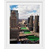 "GREATBIGCANVAS River Chicago Illinois White Framed Wall Art Print, 12""x16""x1"""
