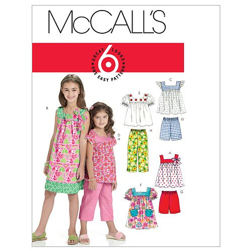 Pattern Girls Top - McCall's Patterns M6022 Children's/Girls' Tops, Dresses, Shorts And Pants, Size CHJ (7-8-10-12-14)