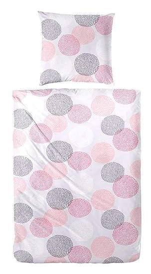 Primera Bettwasche Seersucker Grau Rosa Pink Weiss Grosse 135x200 Cm