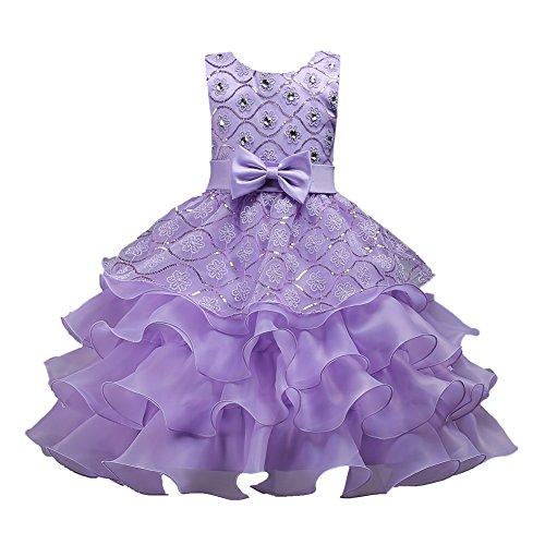 Beauty Pageant Dresses for Girls Sleeveless Size 10 Knee Length Party Wedding Graduation Prom Bridesmaid Ruffles Dresses for Girls 12-14 Tutu Tulle Ball Gown Teen Girl Royal Age of 11 Purple 150 (Diamond Ball Purple Dress)
