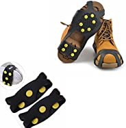 ODIER Shoe Ice Cleats 24 Teeth Ice Grippers 10 Teeth Cleats Shoes Designed for Walk on Ice Snow and Freezing Mud Ground Must