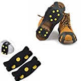 Shoe Ice Grippers Ourdoor Ice Cleats fit All Kind of Shoes Designed for Walk on Ice Snow And Freezing Mud Ground Must Have Outdoor Sports Activity Accessory (10-Teeth-A, M)