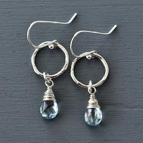 Artisan Sky Blue Topaz Earrings Sterling Silver Circle Drop on French Wires