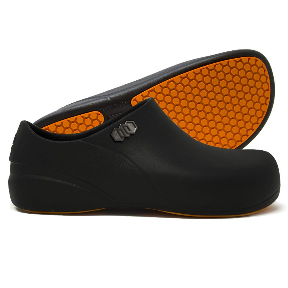 Stico Men's Slip Resistant Chef Clogs, Professional Non-Slip Work Shoes for Restaurant Hospital Nursing Garden [Black]