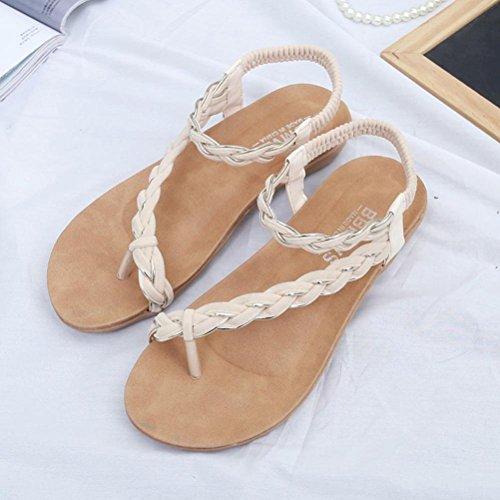 Elevin (tm) Kvinnor Sommarens Mode Pärlstav / Bandage / Paljett Bohemia Plattform Platt Flip Flop Sandal Skor Beige