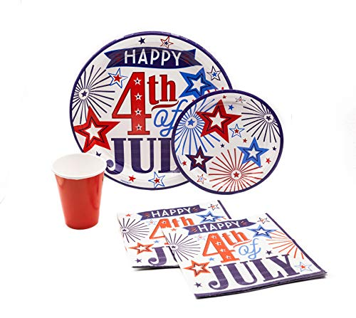 Happy 4th of July Pack! Disposable Paper Plates, Napkins and Cups Set for 17 (With free extras)
