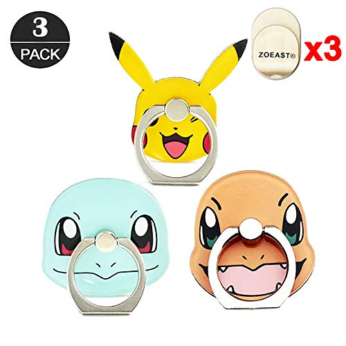 ZOEAST(TM) 3 Pack Phone Ring Grip Pocket Monster Ball Pokeball Universal 360° Adjustable Holder Car Hook Stand Stent Mount Kickstand Compatible All iPhone X Plus Samsung Android iPad(3pcs Monster)]()