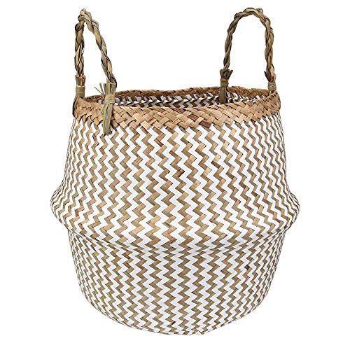 MitoVilla Foldable Seagrass Storage Basket for Throw Blanket, Laundry Hamper, Rustic White Zig Zag 12 in Planter Pot, Large Tote Basket with Braided Handles for Livingroom & Bedroom, Balcony & Garden