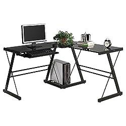 L-Shape Corner Computer Desk PC Glass Laptop Table