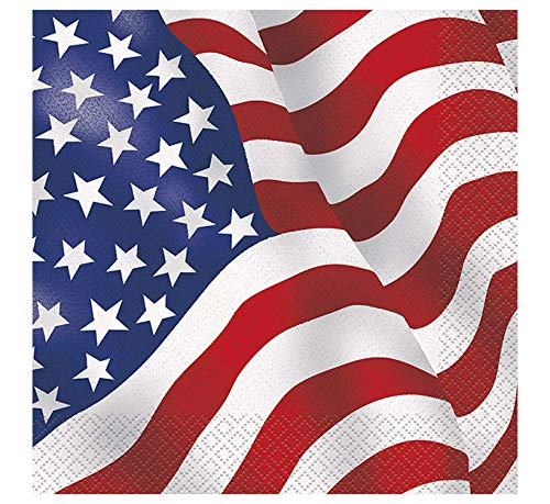 US American Flag Party Napkins, 16ct
