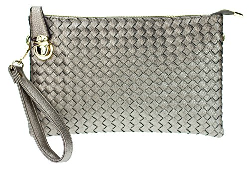 Proya Collection Buckle Lock Woven Leather Large Wristlet Clutch (Pewter) (Leather Woven Pewter)