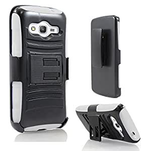 Samsung Galaxy Avant Case, StarShop™ Samsung Galaxy Avant G386 (2014) Dual Layer Holster Case with Kickstand and Locking Belt Swivel Clip White