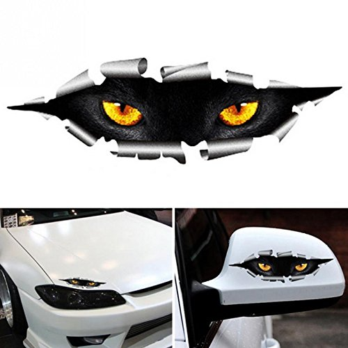 TttopKing 2Pcs Waterproof 3D Styling Funny Cat Eye Peeking Car Sticker Auto Accessories