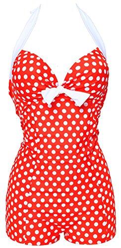 50s Elegant Inspired Retro Vintage One Piece Tummy Control Monokini Swimsuit,Red2(fast Ship),US8-10/SizeChina XL