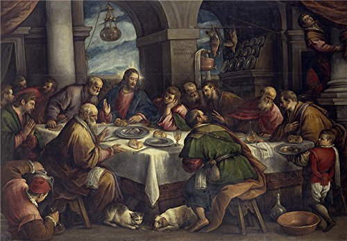 The high quality polyster Canvas of oil painting 'Bassano Francesco La Ultima Cena Ca. 1586 ' ,size: 30 x 43 inch / 76 x 110 cm ,this High Definition Art Decorative Canvas Prints is fit for dining Room gallery art and Home artwork and Gifts (John Cena Cake Pan compare prices)