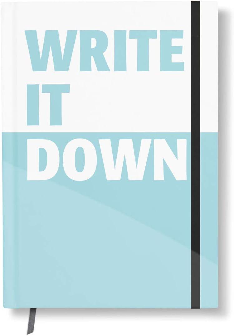 Notizbuch Mit Designcover Write It Down Din A5 192 Seiten Gummiband Lesezeichen Petrol Kariert