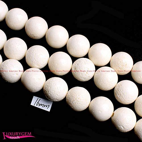 Calvas 16mm Natural White Color Sponge Coral Round Shape DIY Gems Loose Beads Strand 15