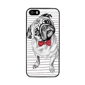 Funda carcasas TPU Gel para Apple iPhone SE perro carlino con pajarita borde negro