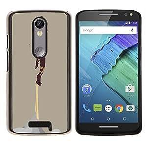 Hierro Superhero- Metal de aluminio y de plástico duro Caja del teléfono - Negro - Motorola Droid Turbo 2 / Moto X Force
