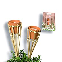 The Citronella Wax Candle Kit, Includes 2 Mini Candle Pots Plus 2 Bamboo Holder with Posts, 10 1/4 L x 2 3/4 W x 14 5/8 Inches, By Whole House Worlds