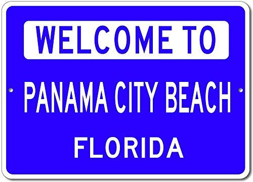 Welcome to PANAMA CITY BEACH, FLORIDA - City State Custom Rectangular Aluminum Sign - Blue - 12