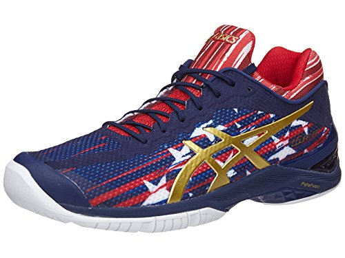 ASICS Unisex Gel-Court FF US Open Tennis Shoes Indigo Blue and Prime Red-(E714N-