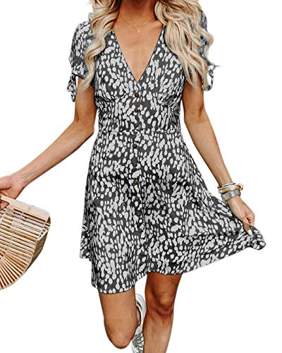BTFBM Women Summer Printed V Neck Button Down Casual Party Short Dress with Tie Sleeve (Black, Small)