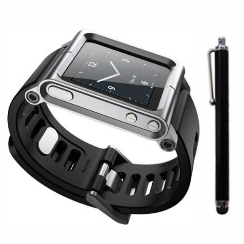 SQdeal Collection iPod Nano 6th Gen Wrist Strap Watch Band Case w/ Adjustable length Function, with Touch Pen (Sliver)