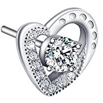 Mothers Day Gift, ATMOKO Earrings Stud Women, 925 Sterling Silver Cubic Zirconia Heart-shaped Earring with Exquisite Packing Box, Perfect Women Gift for Mom, Daughter, Wife,Sisters at Valentines Day Anniversary or Birthday