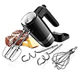 SHARDOR Upgraded Electric 2 x 5-Speed Hand Mixer 300 Ultra Power Heavy Duty Motor, with Beaters, Dough Hooks, Pro Whisks and a Storage Case, for Chef, Baker, Housewife and so on, Black