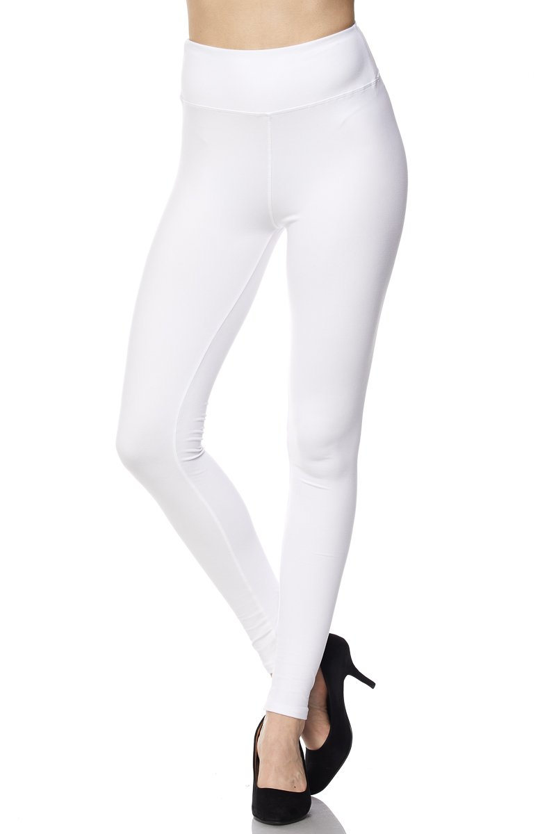 PALI USA Best Selling Womens Solid Colors Brushed Ankle Leggings With 3 inches Waistband (White, Plus Size(Size 12-24))