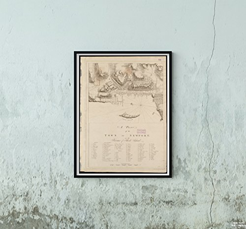 1776 Map Rhode Island Newport Rhode Island A Plan of The Town of Newport in The Province of Rhod Vintage Fine Art Reproduction Ready to Frame